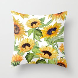 Sunflower art, watercolor floral Throw Pillow