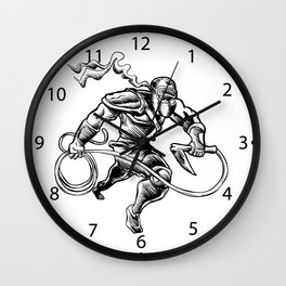 hand drawn Sketchy illustration of a ninja Wall Clock