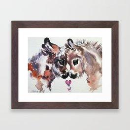 Donkeys in Love Framed Art Print