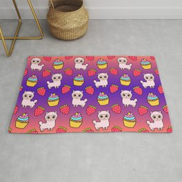 Cute happy fluffy cuddly funny Kawaii pink baby llamas, red ripe summer strawberries, yummy colorful cupcakes pretty orange purple design. Nursery decor ideas. Rug