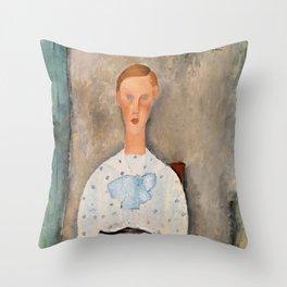 "Amedeo Modigliani ""Girl with a Polka-Dot Blouse (Jeune fille au corsage à pois)"" Throw Pillow"