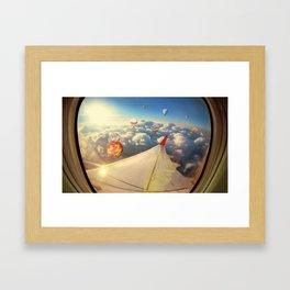 Clouds ,sky and Balloons as seen through window of an aircraft Framed Art Print