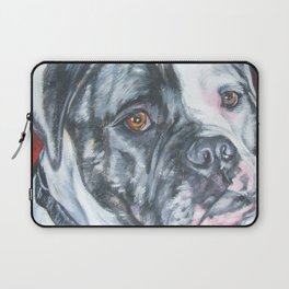 American Bulldog dog portrait Fine Art Dog Painting by L.A.Shepard Laptop Sleeve