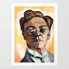 Man with glasses Art Print