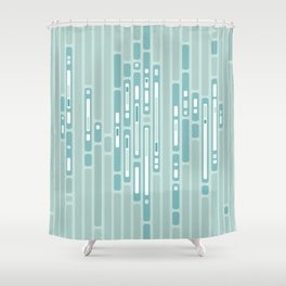 Ocean Reflection – Blue / Teal Midcentury Abstract Shower Curtain