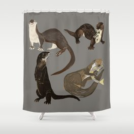 Old World otters Shower Curtain