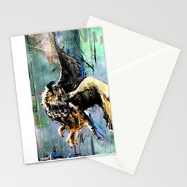 The Hunt. Great Horned Owl. owl painting Stationery Cards