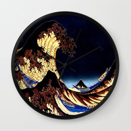 The GREAT Wave Midnight Blue Brown Wall Clock