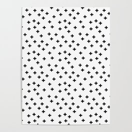 Black hand drawn pluses pattern on white Poster