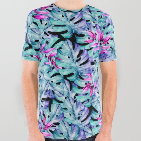 Blue Pink Tropical Leaves Pattern by alemi