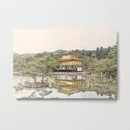 Kinkaku-ji Temple Gold Kyoto Japan Artwork Metal Print
