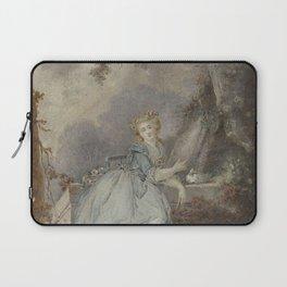 Jean Frederic Schall - Jonge dame bij een stenen balustrade Laptop Sleeve