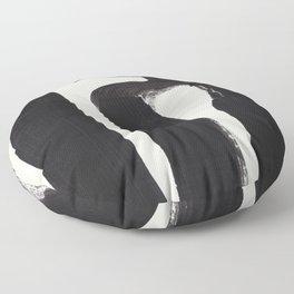 Mid Century Modern Minimalist Abstract Art Brush Strokes Black & White Ink Art Ancient Stripes Floor Pillow