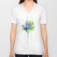 seahawks V-neck T-shirts featuring Seattle 12th Man Seahawks Rose Watercolor Painting Art by Olechka