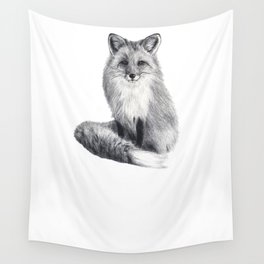 Red fox during winter Wall Tapestry