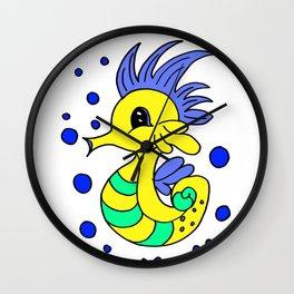 Lovely and funny seahorse cartoon Wall Clock