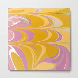 Colorful Abstract Marble in Lilac and Yellow Metal Print