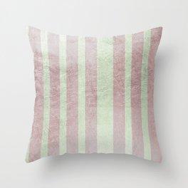 Pastel vintage green faux rose gold elegant stripes Throw Pillow