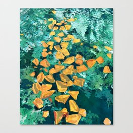Rose Petals in Pool Water Art | Abstract Yellow Rose Floral Watercolor Art Print Canvas Print