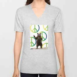 peace bear Unisex V-Neck