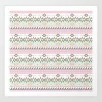 Navajo Pattern in Pastel Colour Art Print