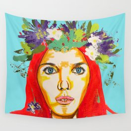 Red haired girl with flowers in her hair Wall Tapestry