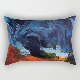 Red Mountain and Stormy Sky Oil Painting Fine Art Rectangular Pillow