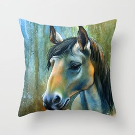 Horse in Blue Throw Pillow
