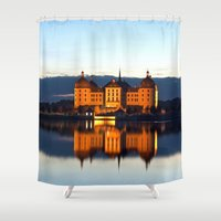 milan Shower Curtains featuring Fairy tale Castle - Moritzburg blue hour by UtArt
