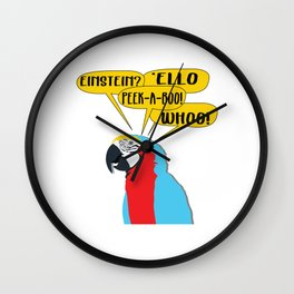 Used to be Noisy But Funny Talking Bird Tshirt Design einstein parrot Wall Clock