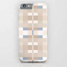 Beige and Blue Color Blocks Geometric Pattern iPhone Case