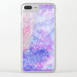Abstract pink blue ultraviolet hand painted watercolor pattern Clear iPhone Case