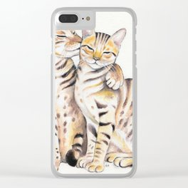 Bengal Cats Love Watercolor Ink Art Clear iPhone Case