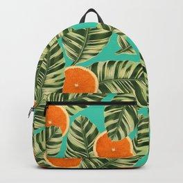 Oranges On Teal Exotic Backpack