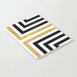 Simple Geometric Cross Pattern - White Gold on Black - Mix & Match with Simplicity of life Notebook
