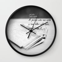 jane austen Wall Clocks featuring Jane Austen Letter by KimberosePhotography