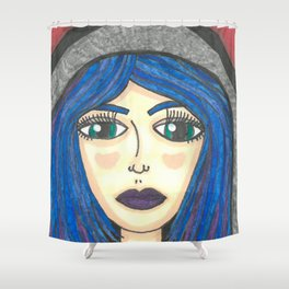 Fur Hooded Girl Shower Curtain