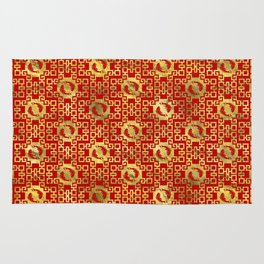 Luxury Oriental Gold on Red Koi Fish Pattern Rug