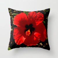 hibiscus Throw Pillows featuring Hibiscus by Armine Nersisian