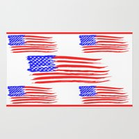 american flag Area & Throw Rugs featuring American Flag by Art by Samantha Perez