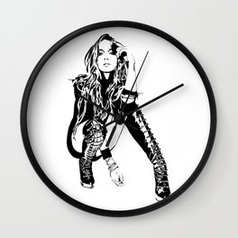 lindsay lohan illustration Wall Clock