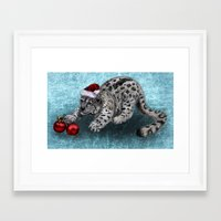snow leopard Framed Art Prints featuring Snow Leopard by Anna Shell