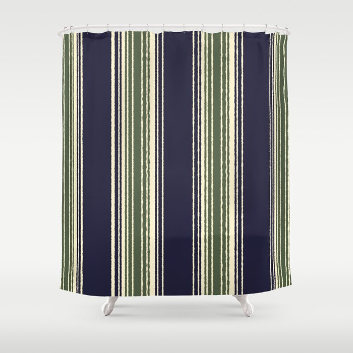 Navy Blue And Sage Green Stripes Shower