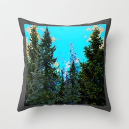 WESTERN PINE TREES MOUNTAIN GREY LANDSCAPE Throw Pillow