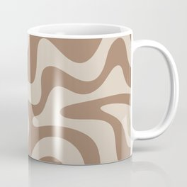 Liquid Swirl Contemporary Abstract Pattern in Chocolate Milk Brown and Beige Coffee Mug