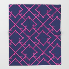 Bamboo Chinoiserie Lattice in Navy + Pink Throw Blanket