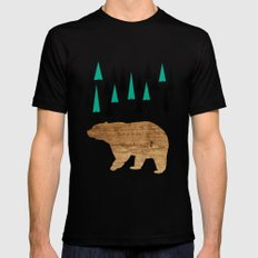 Bear in the woods MEDIUM Black Mens Fitted Tee