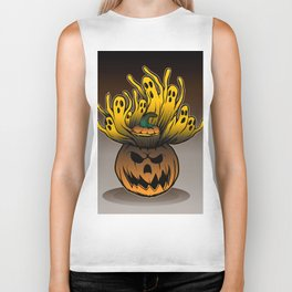 Classic character of ghost and pumpkin Biker Tank