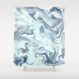 Marble Blues Shower Curtain