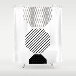 Geometric - Hexagon Row, Black Mixed Pattern Shower Curtain